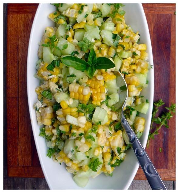 Basil, Chive, Cucumber & Corn Salad